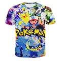 2016 Marca Ropa Pokemon 3D de la camiseta 3d Impreso O-cuello de la Camiseta Los Nuevos Hombres de la Llegada de la Moda Hip Hop hombres camiseta Manga Corta camiseta homme