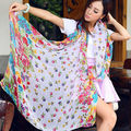 Autumn Warm Shawl Women Scarves Voile Wrap Colorful Sun Block Decorative Scarves Idyllic Scattered Small Flowersand Design