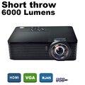 ATCO 6000 Lumens Daylight Educação reunião de Negócios de Vídeo Full HD 1080 P DLP Digital 3D Projetor de Curto alcance Beamer Proyector