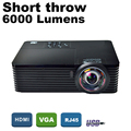 ATCO 6000Lumens Business meeting Education Daylight Video Full HD 1080P Digital 3D DLP Short throw Projector Beamer Proyector
