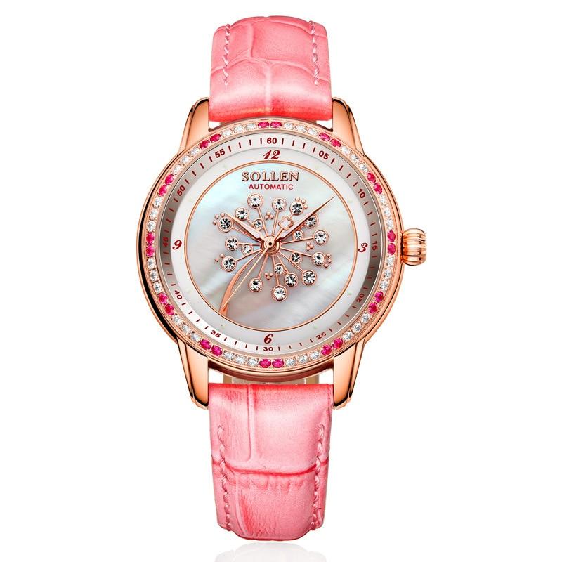 SOLLEN SL408 watches women luxury automatic mechanical Romantic dandelion shell pearl diamond sapphire Italian calfskin pink pink dandelion design кожа pu откидной крышки кошелек для карты держатель для samsung j5prime