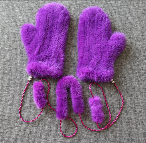 High Quality Fur Gloves Winter Women Import Natural Mink Fur Kintted Lanyard Mittens 11 Colors