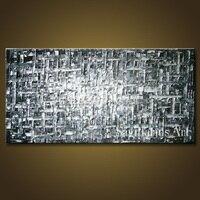 El Boyalı Manzara Gümüş metal duvar Palet Bıçak kalın soyut yağlıboya Tuval Dekor Oturma Odası Yapıt Güzel Sanatlar bar sanat