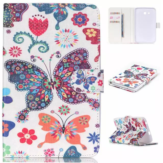 Cute Butterfly PU Leather <font><b>Case</b></font> Cover For <font><b>Samsung</b></font> <font><b>Galaxy</b></font> Tab3 <font><b>7.0</b></font> Lite T110 T111 Tablet <font><b>Case</b></font> For <font><b>Samsung</b></font> T113 T116 <font><b>Case</b></font> Cover image