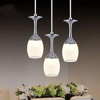 Creative LED Pendant Light Popular Art Chandelier Ceiling Lighting Lamp Acrylic Wine Glass Pendant Lamp Restaurant
