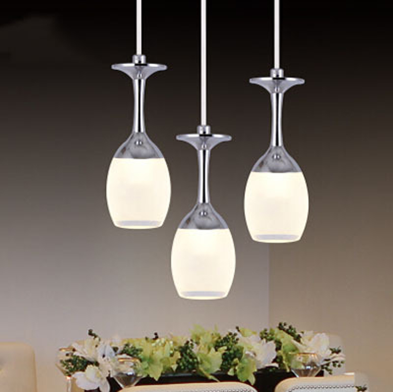 Popular art creative acrylic 5w LED pendant light fixture brief home deco living room chrome aluminum cup pendant lighting lamp
