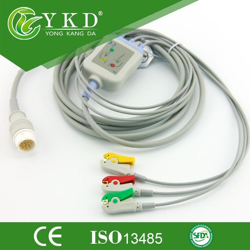 Mindray PM 7000 8000 9000 MEC-1000 EKG kabel s sponko 3 vodi