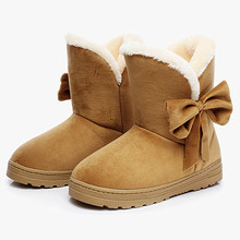 2016 NEW Women Winter Boots Warm Shoes Girls Snow Boots Female Australia Bowtie Ankle Boots Suede with Plush Insole Botas mujer
