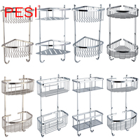 Double Caddy Corner Shower Basket Stainless Steel Bathroom Shelves Shower Organizer Rustproof,Wall Mounted,Brushed or Mirror.