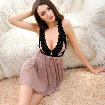 цена на Ladies Sexy Lace Sleepwear Nightdress Babydolls See through lingerie mini dress sleepwear patchwork lingerie V-Neck Sleeveless