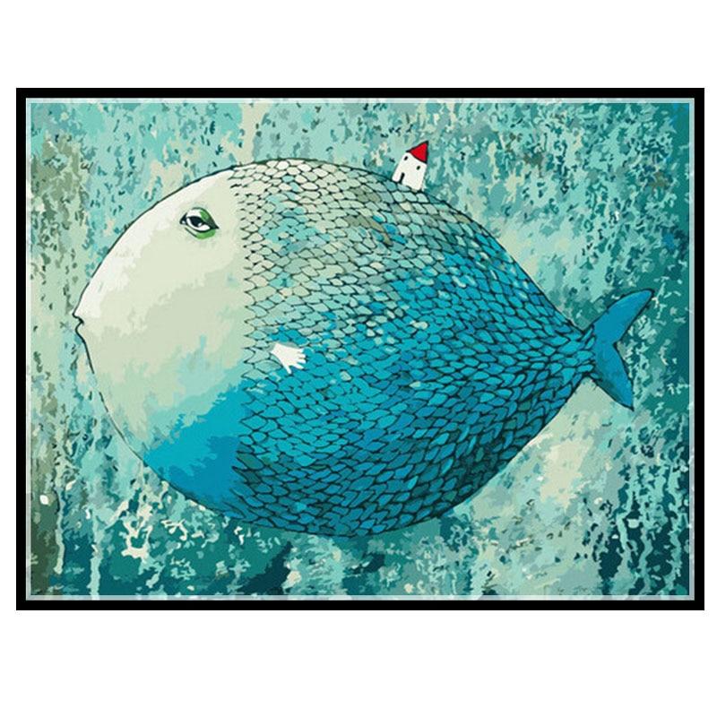 Needlework DIY DMC 14CT Unprinted Cross stitch Counted Embroidery Cross stitch Kits set Blue fish home