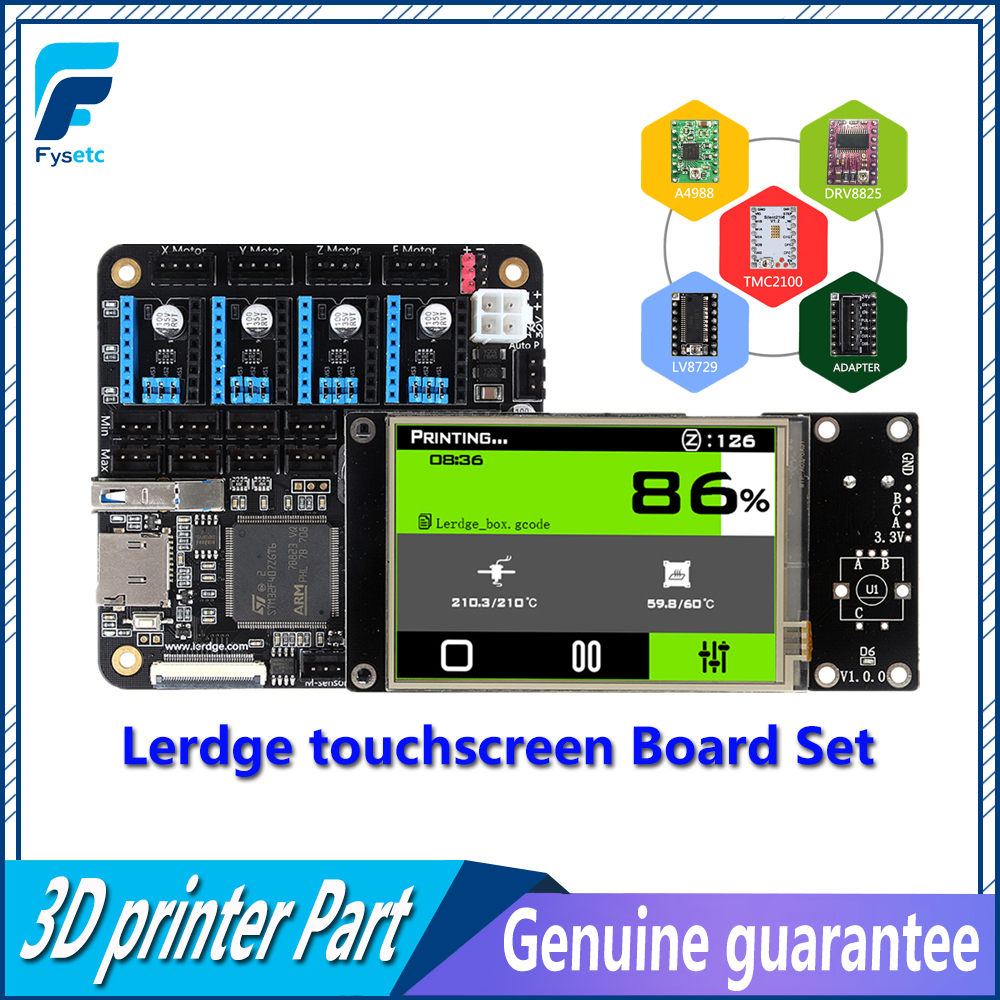 3D Printer Board Thermistor ARM 32Bit Lerdge Controller Motherboard with  3.5 TFT Touch Screen and A4988/TMC2100/LV8729/DRV8825 flsun 3d printer big pulley kossel 3d printer with one roll filament sd card fast shipping