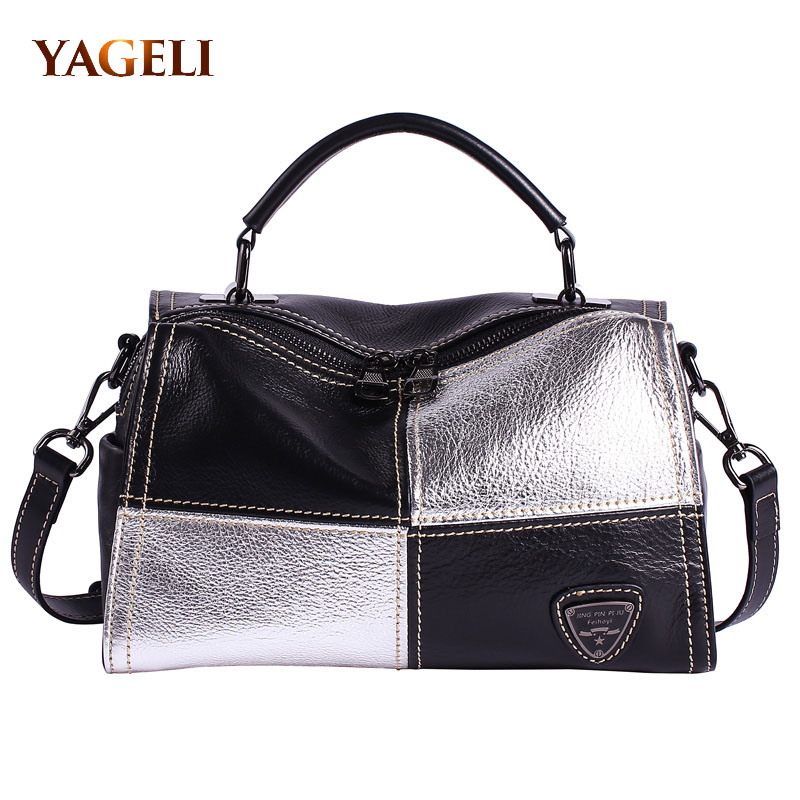 купить genuine leather women's handbags luxury handbags women bags famous brands designer boston bag high quality ladies' hand bags по цене 4866.66 рублей