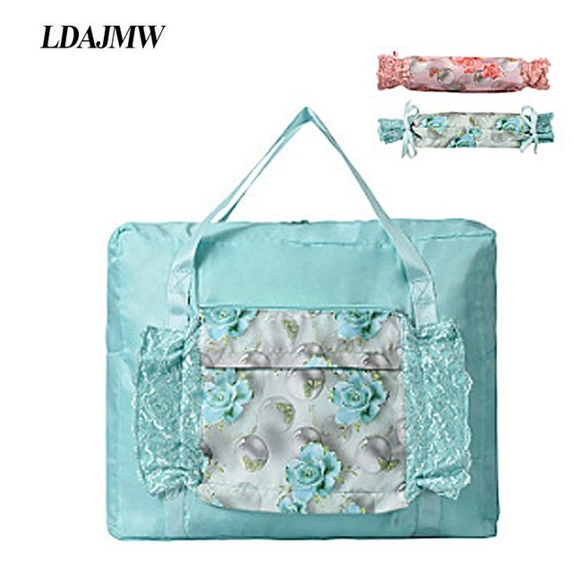 Ldajmw 토트/어깨 여행 쇼핑 큰 가방 접는 옷 보관 주머니 주최자 화장품 보관 가방 여행 수하물 가방