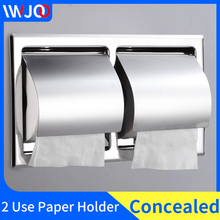 Double Toilet Paper Holder Stainless Steel Creative Bathroom Roll Paper Tissue Box Concealed Wall Mount Paper Towel Holder Rack цены онлайн