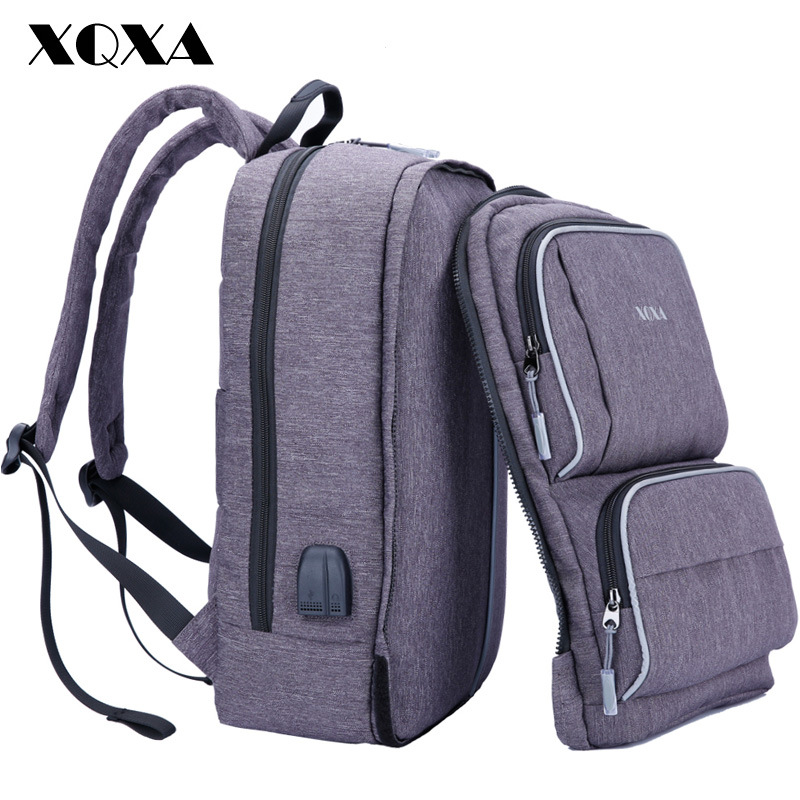 XQXA USB Backpack External USB Charge Computer Backpacks Anti-theft Waterproof Bags for Men mr ylls 15laptop backpack external usb charge computer backpacks anti theft waterproof bags for men women school large capacity