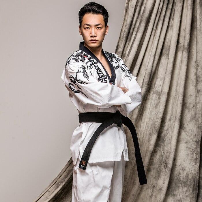 Personalized embroidery taekwondo doboks unisex individual character long sleeved WTF tae kwon do uniforms adult TKD clothes