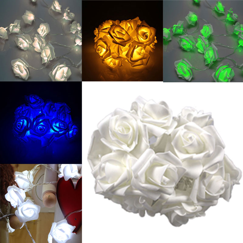 Fashion Light 10 LED Rose Flower String Lights 220V EU Plug Fairy Wedding Party Christmas Holiday Decoration WWO66