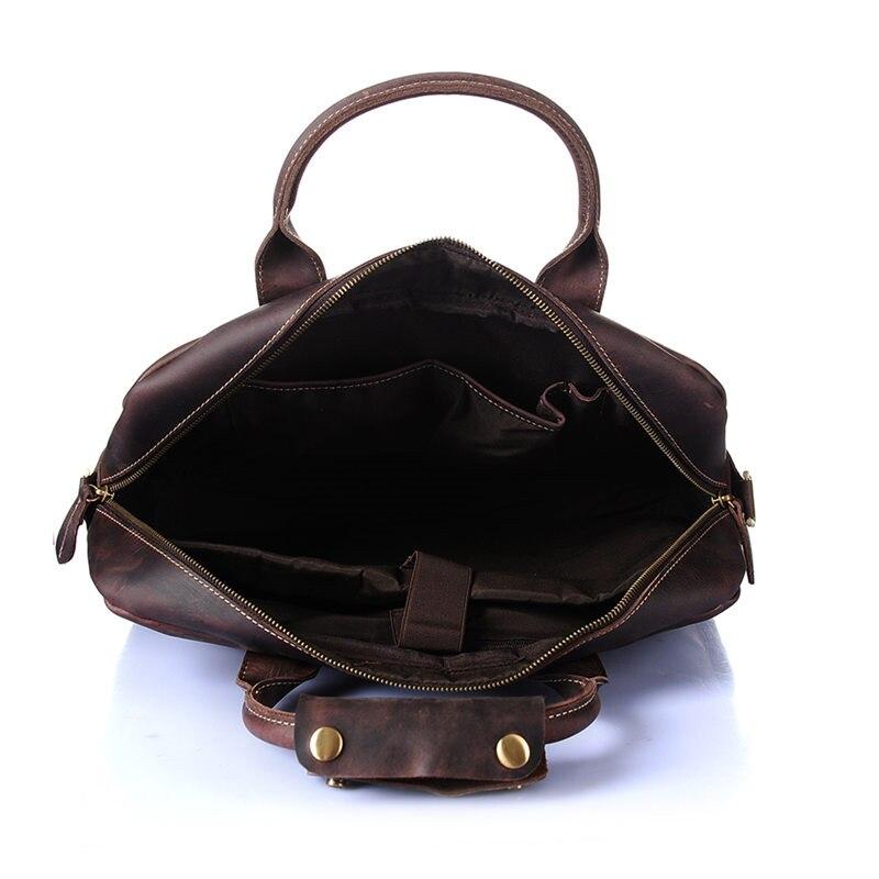 Nesitu de alta calidad Vintage marrón grueso Caballo Loco cuero hombres maletín portafolio de cuero genuino hombres bolsos de mensajero M8013 - 5
