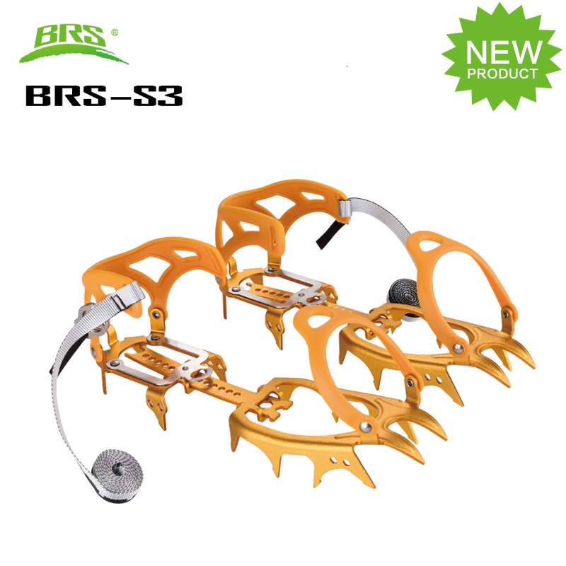 BRS 14 Teeth Claws Snow Climbing Cleats Bundled Crampons Aluminium Ice Gripper For Climbing Hiking Shoes Spikes Cleat Boots brs s3 ultralight 14 teeth aluminium alloy bundled crampons ice gripper outdoor ice climbing kits