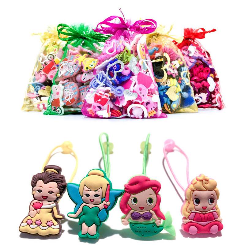 1-4Pairs Cute Princess Hair Ornaments Tie Bow Headband Stretch Hair Ropes Ponytail Holders Girls Travel Accessories Headdress