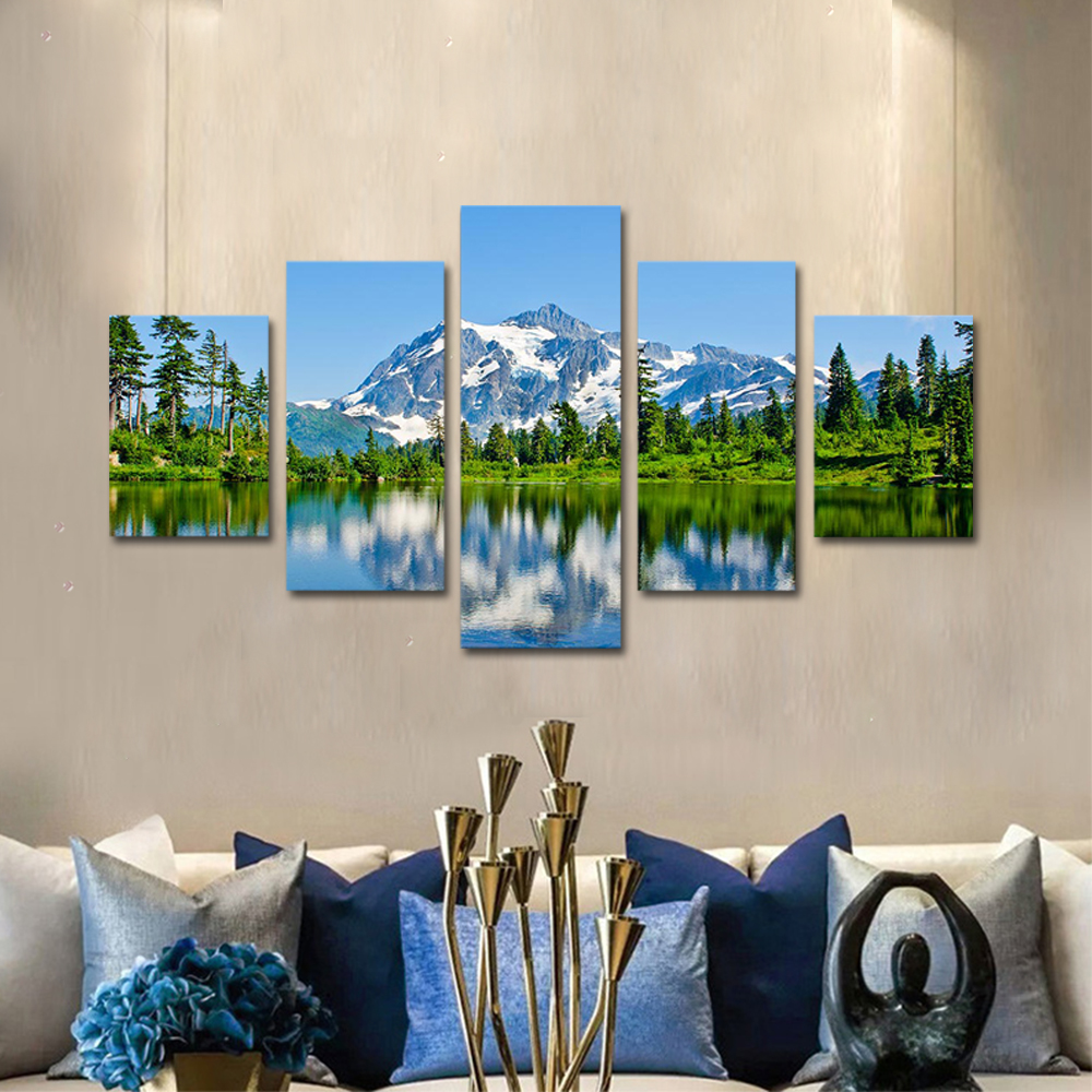 Unframed Canvas Painting Snow Mountain Forest Lake Landscape Photo Prints Wall Pictures For Living Room Wall Art Decoration
