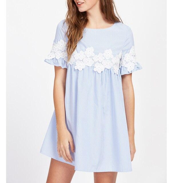 76b6d09fb47 Blue Striped Floral Lace Applique Babydoll Mini Dress Women 2017 Summer  Short Sleeve Dresses Womans Vintage Cute Dress Female