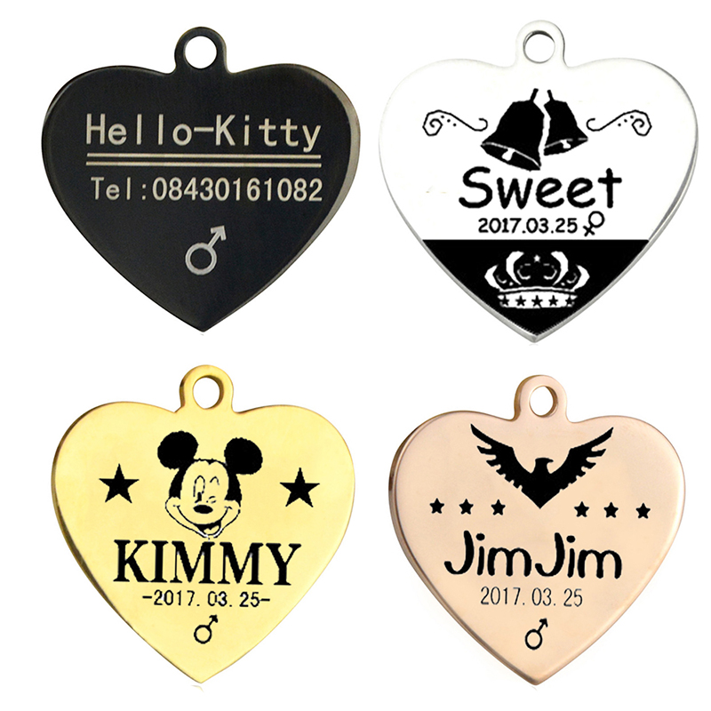 Pet Tag Personalized Nama Dog Cat Tag Stainless Steel Gratis Terukir Puppy Dog Collar Pendant