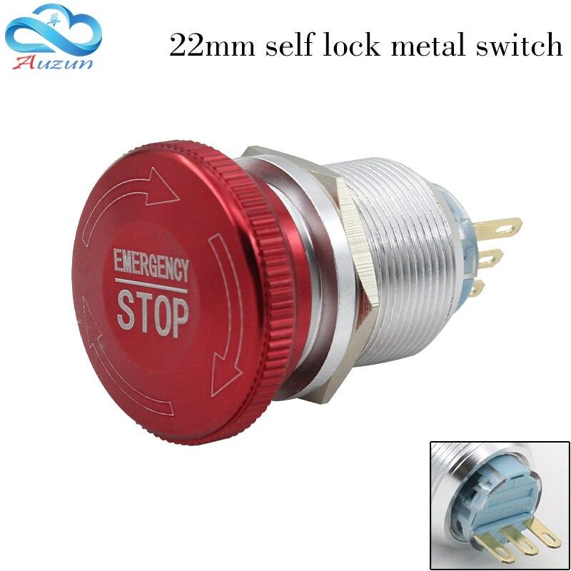 22mm arrêt brusque bouton interrupteur 1 no1nc étanche bouton à s'arrêter de tourner haute qualité en acier inoxydable