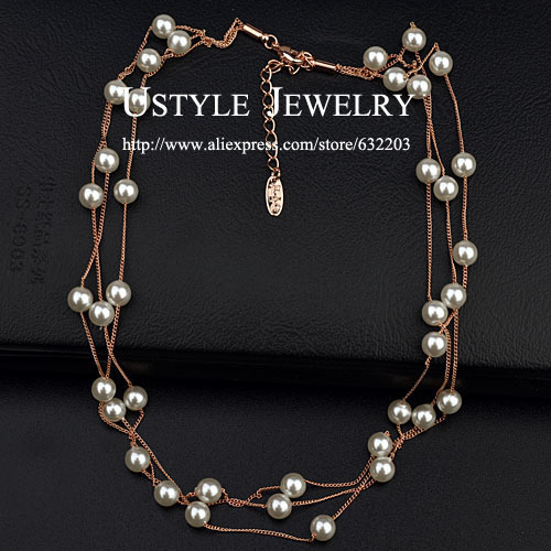 USTYLE 3 String Small 6mm Pearl Beads Multi Strand ...