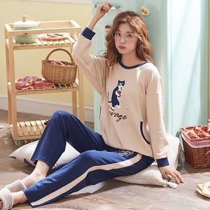 Image 3 - Ropa Para el hogar pijamas de dos piezas 2019 nuevo Pijama de talla grande de algodón Conjunto de Pijama de mujer ropa de dormir Kawaii noche