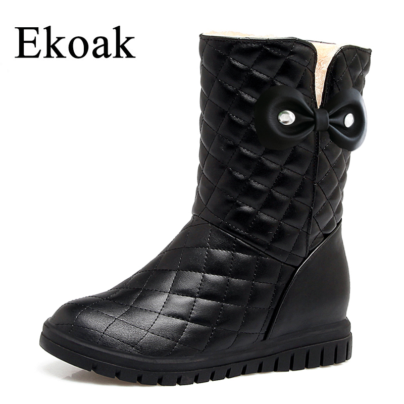 Ekoak New 2018 Fashion Girls Boots Warm Plush Snow Boots Women Ankle Boots Ladies Wedges Platform Boots Shoes Woman zorssar 2017 new classic winter plush women boots suede ankle snow boots female warm fur women shoes wedges platform boots