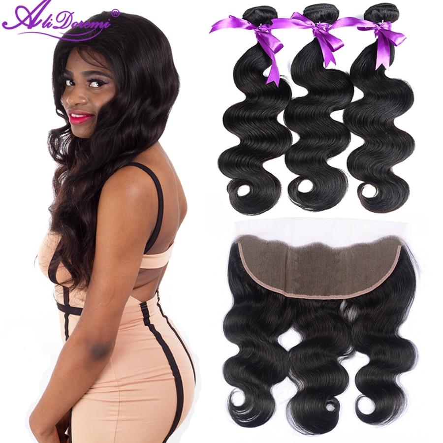 Brazilian Body Wave 3 Bundles With Lace Frontal Closure 13x4 Ear to Ear Hair Weave Bundles Alidoremi Human Hair Extension