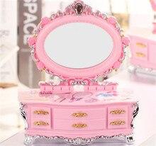 Hot selling Musicbox Creative Girls birthday gift Dresser mirror music box girls jewelry box package