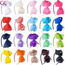 """20 teile/los 4 """"Haar Bögen Stirnbänder Für Kinder Mädchen Handgemachte Ebene Band Knoten Bögen Satin Stirnbänder Haar Hoops zubehör"""