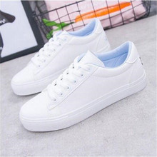 New Spring Tenis Feminino Lace-up White Shoes Woman Pu Leather Solid Color Femal