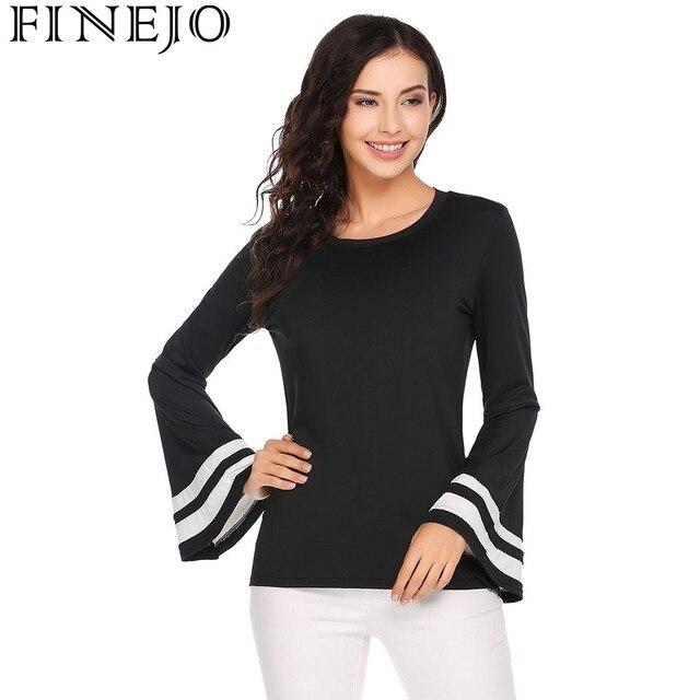 FINEJO Autumn Casual T-Shirts 2017 New Fashion Women tshirt O-Neck Trumpet Long Sleeve T Shirt Patchwork Tees Tops