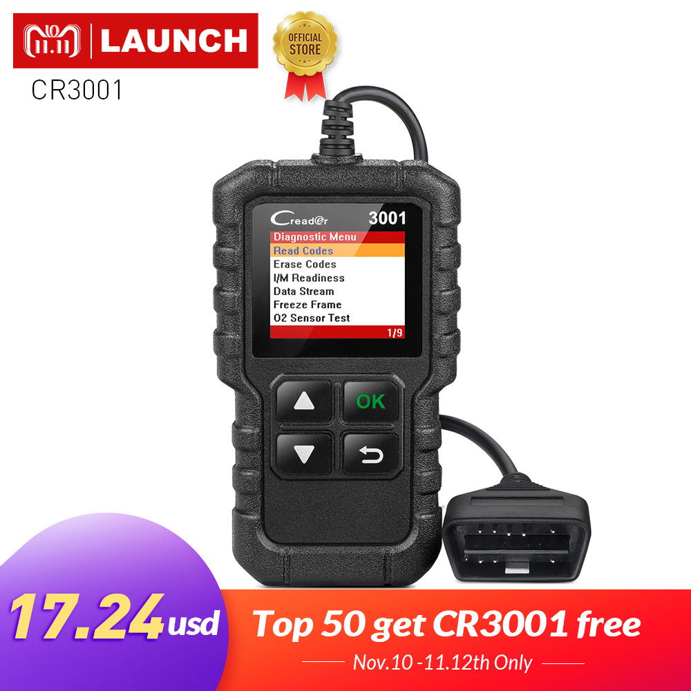 LAUNCH X431 Creader 3001 Full OBD2 OBDII Code Reader Scan tools OBD 2 CR3001 Car Diagnostic tool PK AD310 NL100 OM123 Scanner launch direct store x431 easydiag 2 0 obd2 code reader easy diag 2 0 with bluetooth support all cars with 16 pin obd port