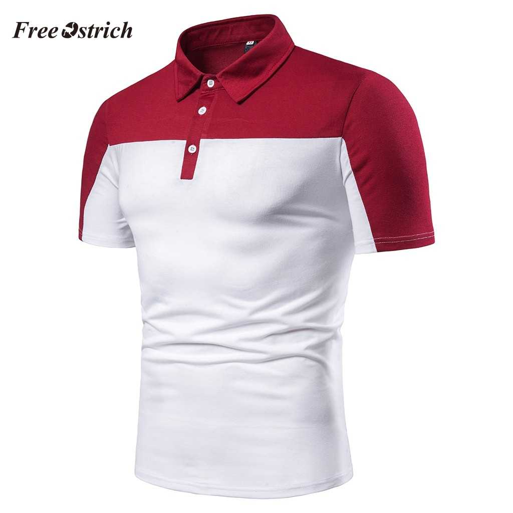Free Ostrich Men's Polo Shirts Men Casual Short Sleeve Shirt Turn-down Collar Shirts Cotton Patchwork Breathable Tops Hot Sales
