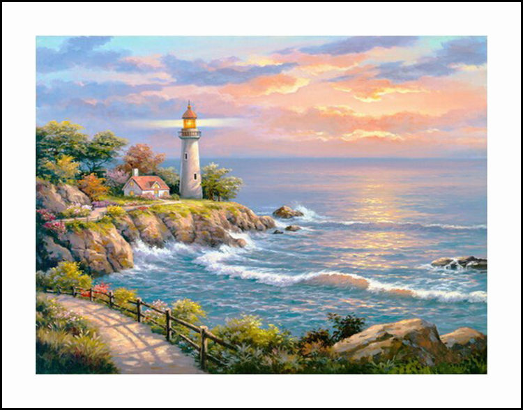 Seaside Beacon Diamond Embroidery 5D Painting Cross Stitch Mosaic Pattern Square Rhinestone needlework gift Home Decor G803
