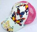 50 pçs/lote fedex rápido frete grátis estilo europeu mulher borboleta flor impressão ocasional boné de beisebol adulto senhora chapéu de sol net