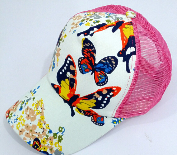 Women's Baseball Caps 50pcs/lot Fedex Fast Free Shipping European Style Woman Casual Butterfly Flower Print Baseball Cap Adult Lady Net Sun Hat Can Be Repeatedly Remolded. Apparel Accessories