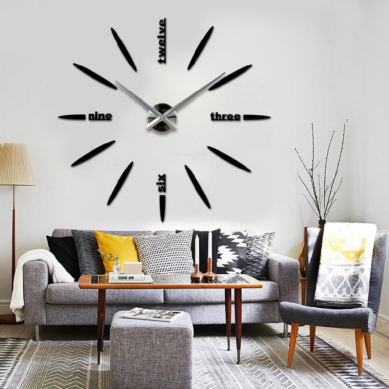 Free shipping fashion 3D big size wall clock mirror sticker DIY