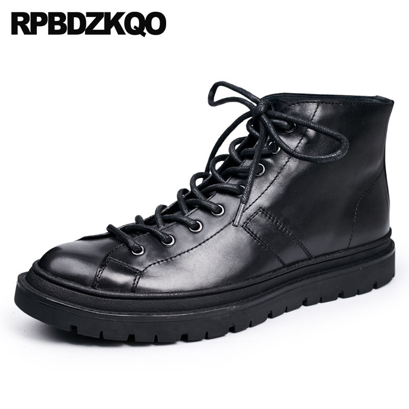 High Top Sneakers Designer Shoes Men Quality Outdoor Autumn Trainer Genuine Leather Short Full Grain Lace Up Booties Black Boots зонт doppler 72759 k