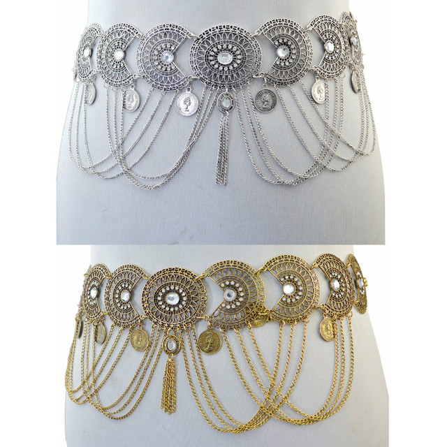 c194e13b472c2 Gypsy Bohemian Belly Chains Bronze Silver Inlay Crystal Hollow Out Flower  Tassel Chain Coin Dance Belt Waist Body Chain Jewelry