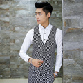 Men's vest groom dress black and white grid Slim fit men casual vest fashion large size business party clothing 3XL 4XL TZ42