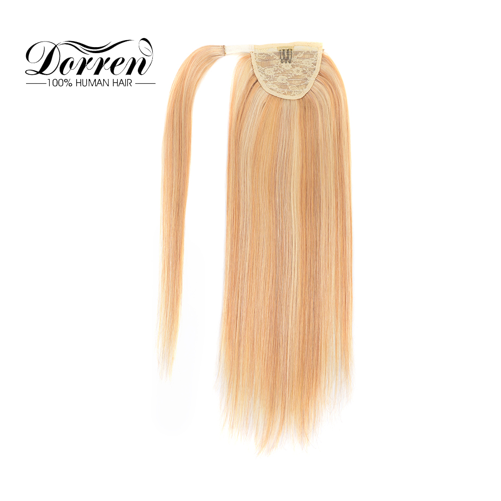 Hair Extensions & Wigs Dorren Hair Piano Color Clip In Ponytail Human Hair Machine Made Remy Straight Natural Hair Extensions Ponytail 14 To 24 Inch Discounts Sale