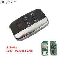 Okeytech 5 Buttons Keyless Entry Smart Key 315Mhz ID47 Chip Car Key For Land Rover Range Rover Sport Evogue LR4 Luxury 2010 2015