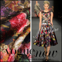 Telas 2018 New Fashion felt Silks wax Rose Print 3% elastic 97% Silk Women's Dress Fabric Plus Size Cheongsam Clothes Fabric