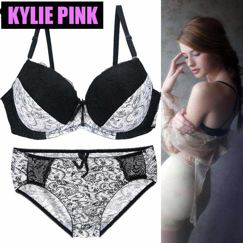75b2ac1044629 KYLIE PINK New Lace Sexy Thin Deep V-neck Push Up Bra Set Underwear Vintage